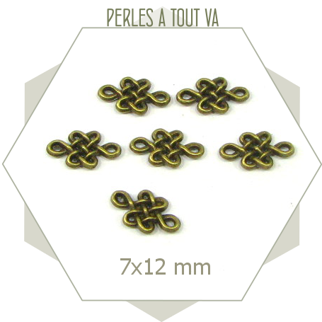 10 connecteurs noeud arabesques couleur bronze, éléments originaux pour création de bijoux