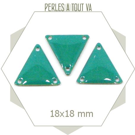6 connecteurs triangles émaillés turquoise vif, sequins triangulaires pour créations uniques
