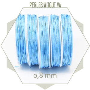 20 m de cordon synthétique 0,8 mm bleu ciel