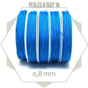 20 m de cordon synthétique 0,8 mm bleu cyan