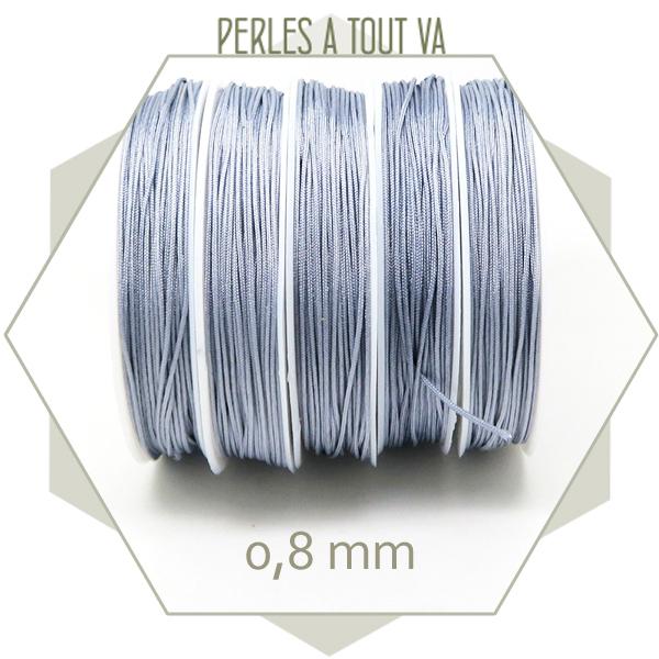 20 m de cordon synthétique 0,8 mm gris