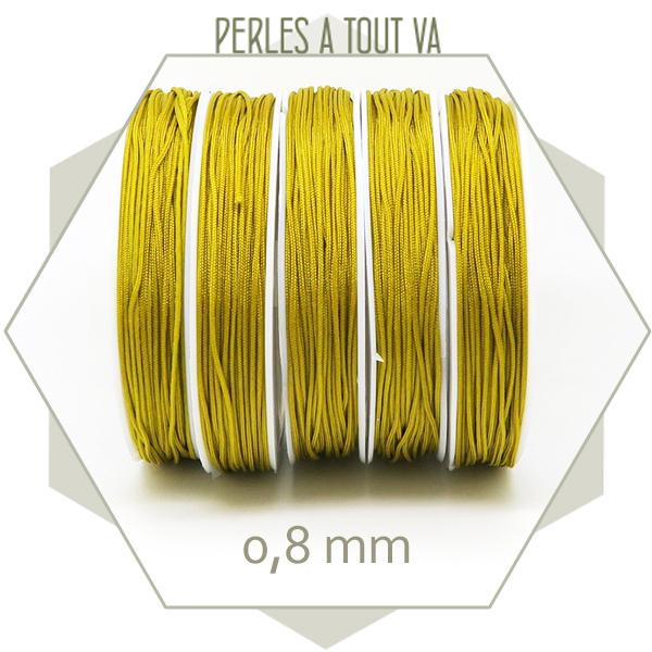 20 m de cordon synthétique 0,8 mm jaune moutarde
