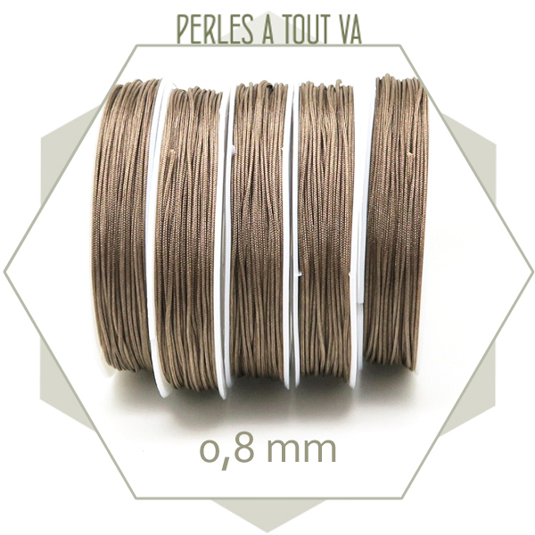 20 m de cordon synthétique 0,8 mm marron glacé