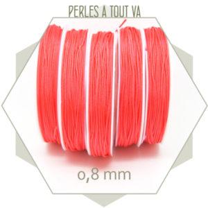 20 m de cordon synthétique 0,8 mm rose corail