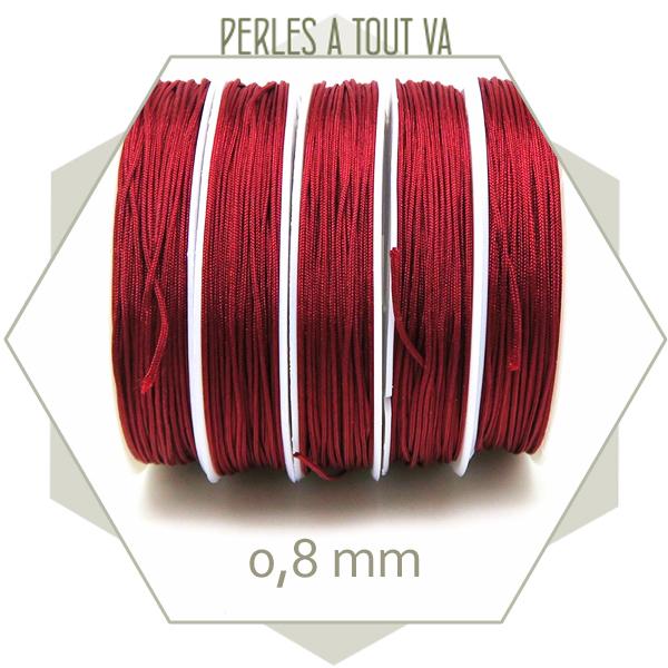 20 m de cordon synthétique 0,8 mm rouge foncé