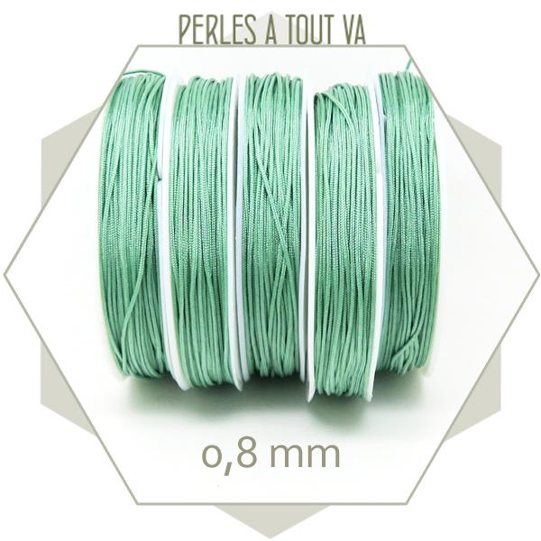 20 m de cordon synthétique 0,8 mm vert jade