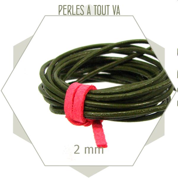 2m cordon rond de cuir vert kaki 2 mm, lanière, lacet