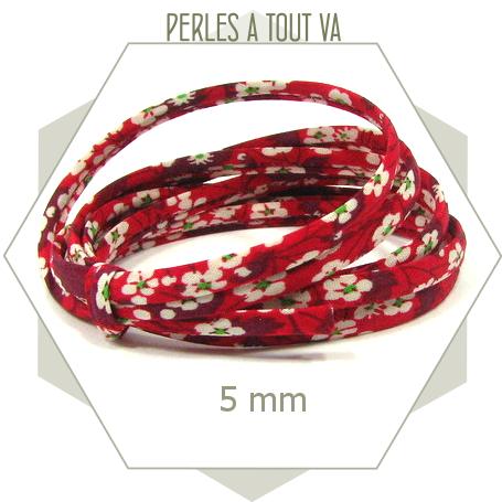 1 m de cordon Liberty 5mm Mitsy Valeria fraise des bois