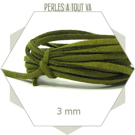 5m lacet suédine imitation daim 3mm couleur vert olive, cordon suédine 3mm