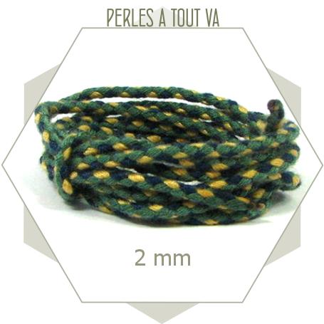 2 m de cordon 2mm vert tressé