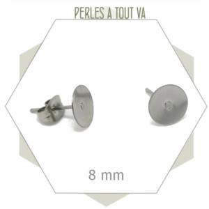 20 clous  en acier inox pour boucles d'oreilles puces