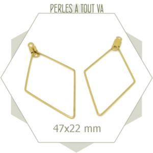 12 créoles losanges 47x22 mm couleur doré