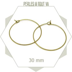 12 créoles en laiton brut 30 mm, boucles d'oreilles