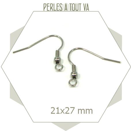 24 crochets de boucles d'oreilles en acier inox