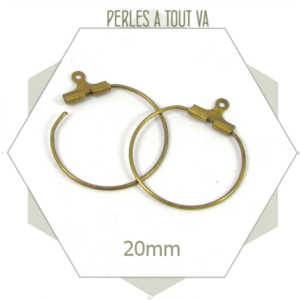 20 créoles 20 mm couleur bronze clair