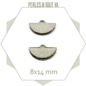 6 embouts demi cercle 14mm argent granité