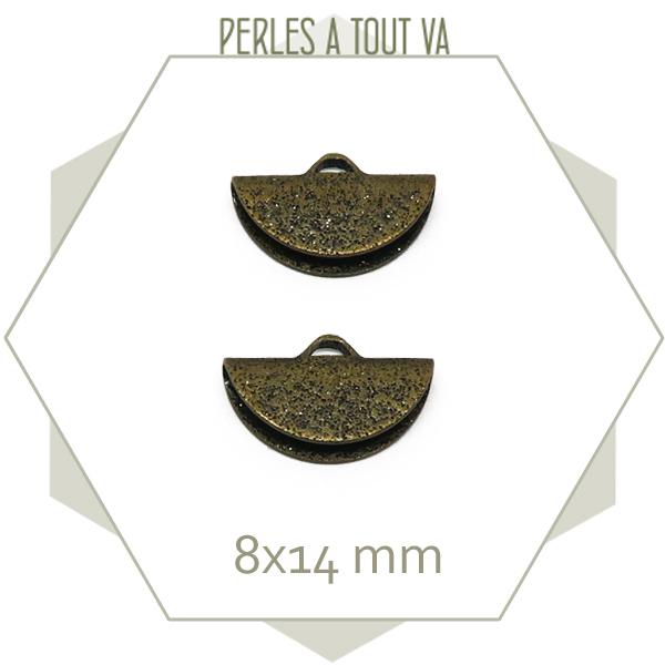 6 embouts demi cercle 14mm bronze granité