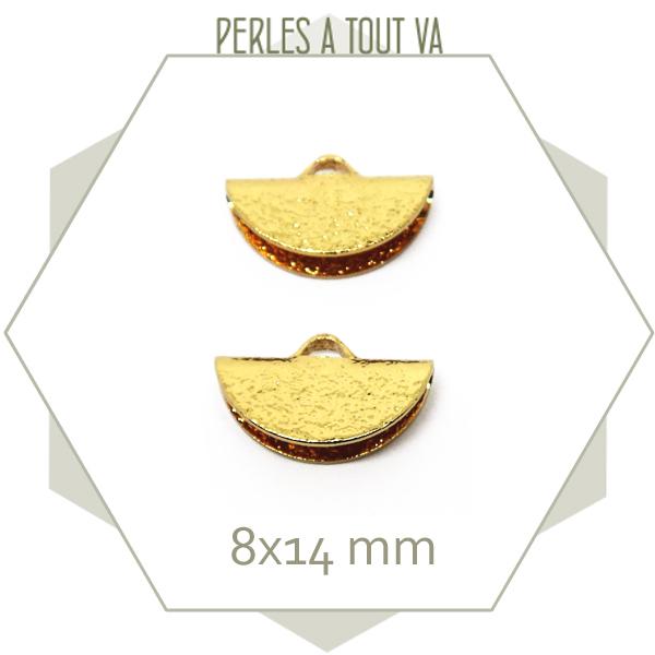 6 embouts demi cercle 14mm dorés granité
