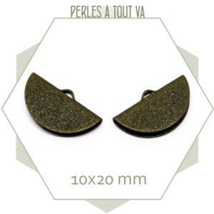 6 embouts demi cercle 20mm bronze granité