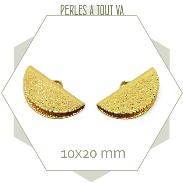 6 embouts demi cercle 20mm dorés granité