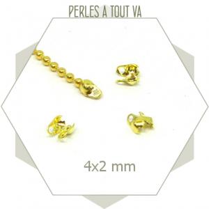 60  embouts pour chaînes billes 1,5 mm dorés