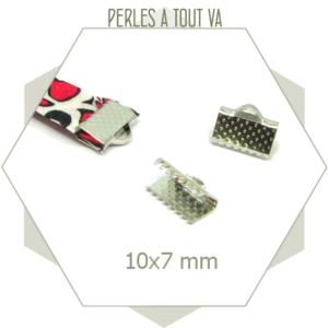 20 embouts de ruban argent 10mm