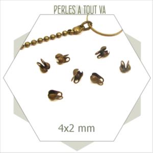 60 embouts pour chaînes billes bronze