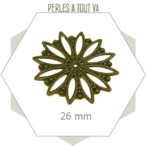 8 breloques estampes rosaces couleur bronze, pièces rondes originales
