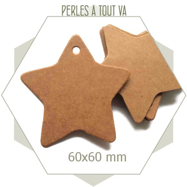 30 étiquettes étoiles en papier kraft cartonné