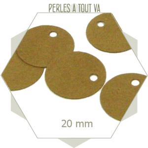 50 étiquettes rondes en kraft cartonnées 20 mm