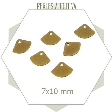 15 breloques éventails lisses bronze, petits sequins éventails