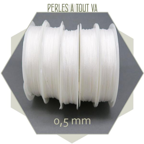 25 m de fil de jade blanc 0,5 mm