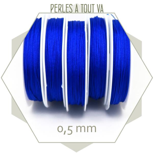 25 m de fil de jade bleu vif 0,5 mm