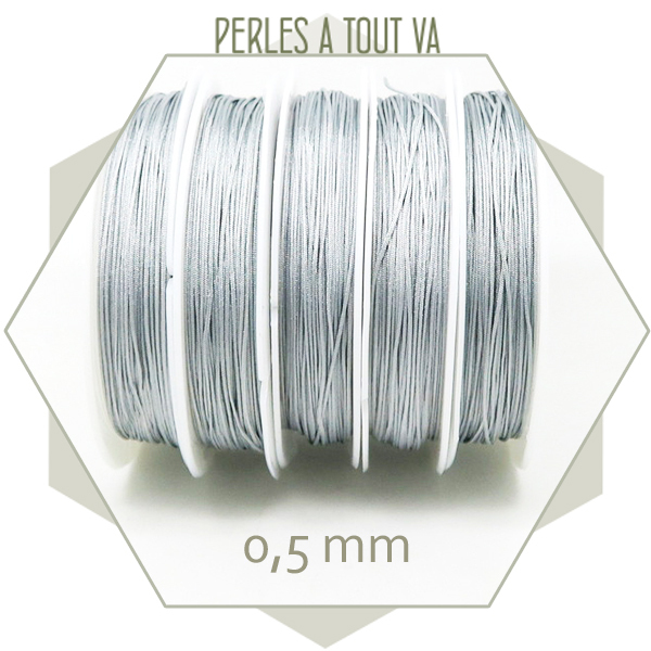 25 m de fil de jade gris clair 0,5 mm