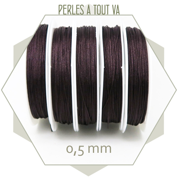 25 m de fil de jade marron 0,5 mm