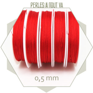 25 m de fil de jade rouge 0,5 mm