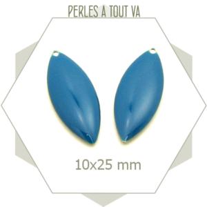 6 Sequins ovales émaillés bleu canard, breloques en forme de navette