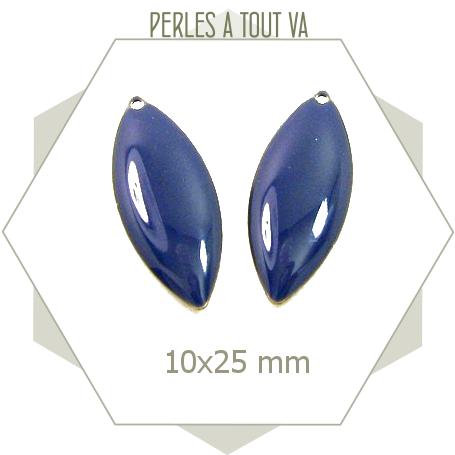 6 sequins forme navettes émaillés 10 x 25mm bleu nuit, breloques émail époxy pour création de bijoux