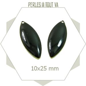 6 breloques ovales émaillées noires, sequins 10 x 25mm, matériel pour bijoux