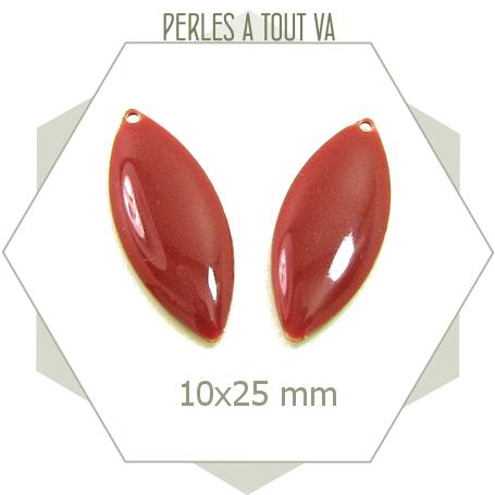 Breloques ovales émaillées couleur rouge brique, sequins 10 x 25mm ovales
