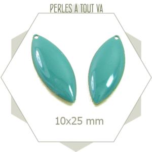 6 sequins en forme navettes émaillées turquoise, pièces ovales pour bijoux