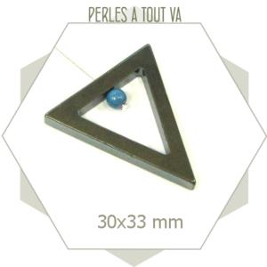 4 grandes perles triangles hématite noire, formes ajourées pour bijoux