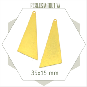 6 grandes breloques triangles dorées