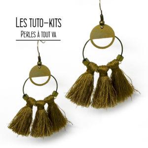 Kit boucles d'oreilles pompons, kit création bijoux facile