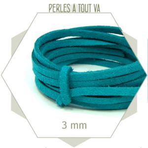 5m lacet suédine imitation daim 3mm turquoise vif, cordon plat