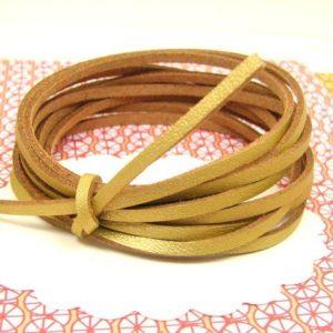 5 m lacet simili cuir doré - 3 mm