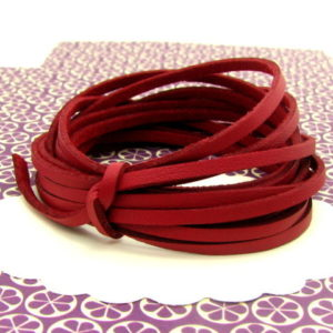 5m lacet simili cuir 3mm rouge, cordon rouge