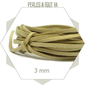 5m cordon suédine imitation daim 3mm couleur lin, lacet daim en suédine