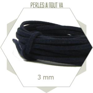5 m lacet suédine imitation daim 3mm bleu marine, lanière pour création fine
