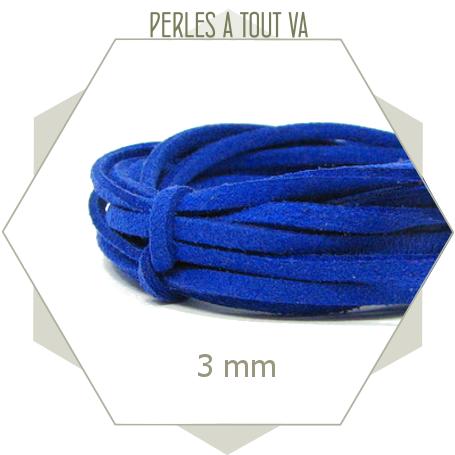 5m lacet suédine imitation daim 3mm bleu vif, lanière plate 3mm